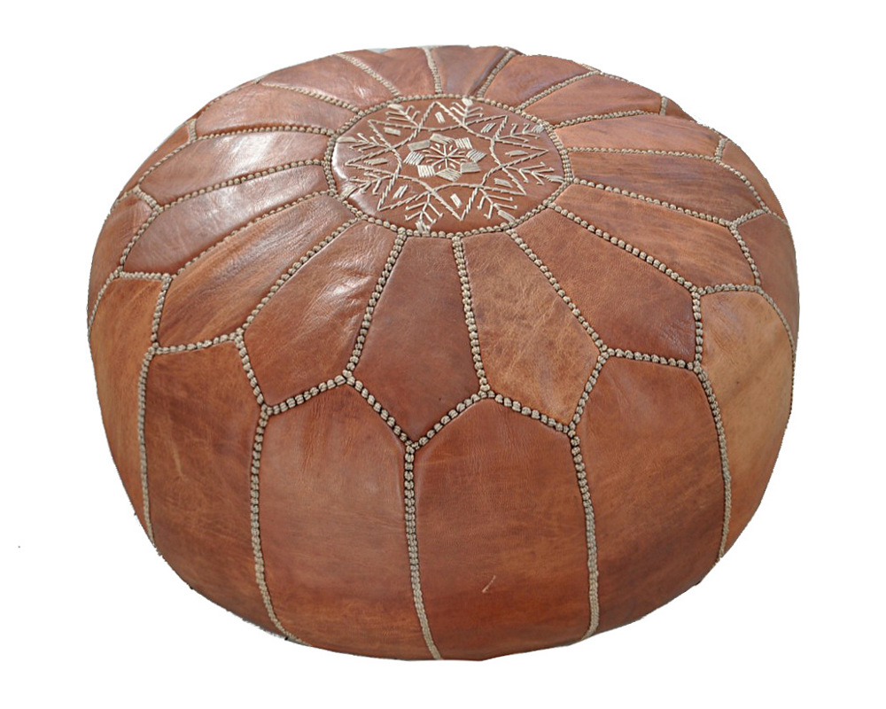 moroccan leather pouf natur unique handmade. Black Bedroom Furniture Sets. Home Design Ideas