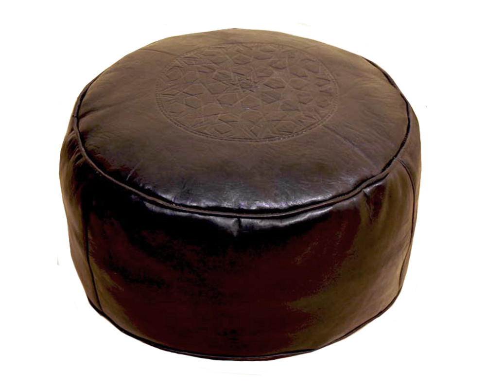 moroccan leather pouf brown unique handmade. Black Bedroom Furniture Sets. Home Design Ideas
