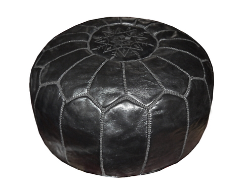 marokkanischer leder pouf schwarz unique. Black Bedroom Furniture Sets. Home Design Ideas