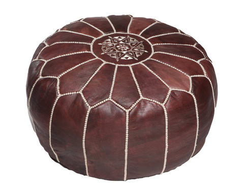 home poufs moroccan leather pouf brown moroccan leather pouf brown